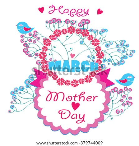 Mother Day vector greeting card - 8 march International Women's Day - cute detailed floral composition with birds, ribbon, classic circle frame label and greeting text / date. Delicate pink decor.