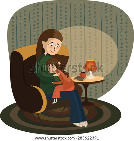 Mother embracing daughter in the evening before the sleep, vector illustration - stock vector