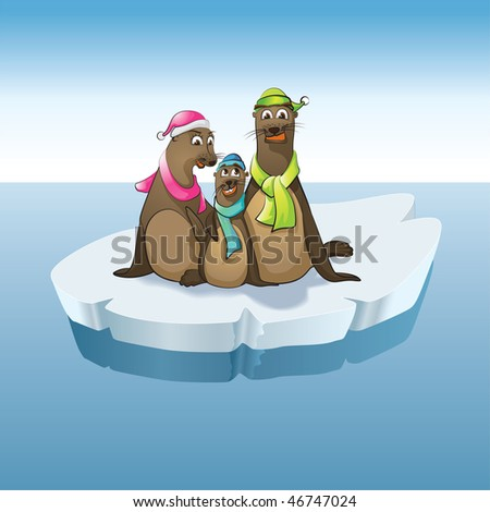 mother, father and boy seals - stock vector