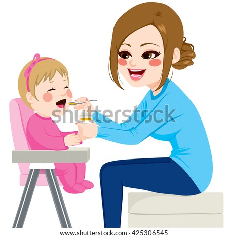 Mother feeding baby with spoon sitting on chair - stock vector
