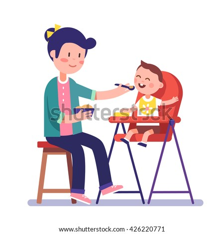 Mother feeding her baby child sitting on kids eating chair. Holding hands with spoon going to mouth. Modern flat style vector illustration cartoon clipart. - stock vector