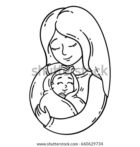 Mother holding baby isolated objects on stock vector for Mom and baby coloring pages