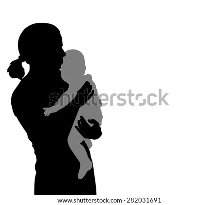 mother holding baby silhouette - stock vector