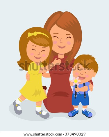 Mother kneeling hugging her daughter and son. The concept of love of mothers for their children - stock vector