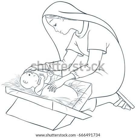 mother mary child jesus manger coloring stock vector 666491734