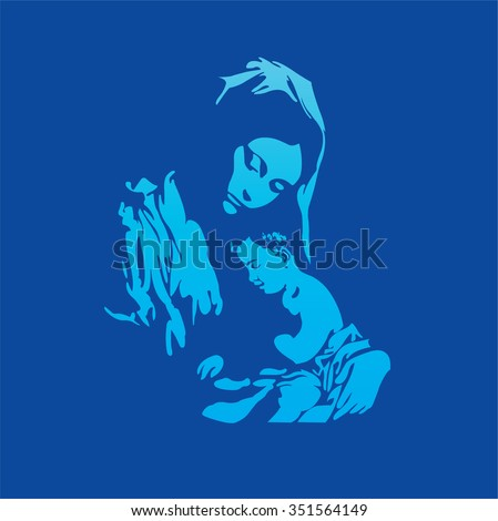 Mother Mary with Jesus Christ in blue - stock vector