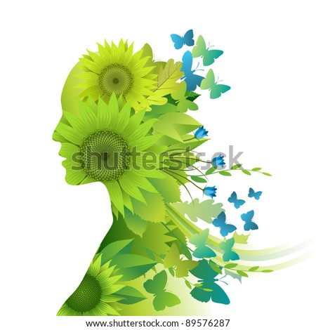 Mother Nature, young woman composed of green leafs, flowers and butterflies depicting spring and summer - stock vector