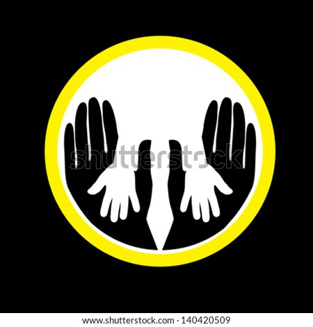 Mother or father child's hands together- concept vector graphic. This illustration shows the relationship between parent and children. The kid's hand is placed over the father or mother's hand. - stock vector