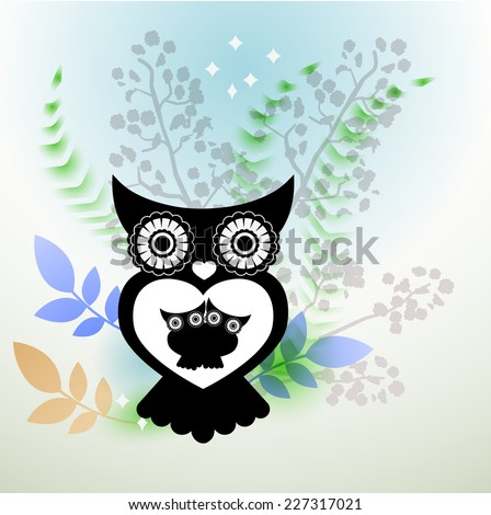mother (or father) owl with two babies  - stock vector