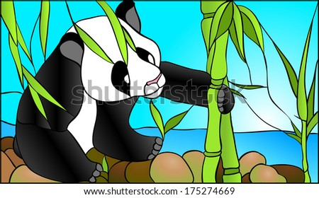 Mother panda / stained glass window - stock vector