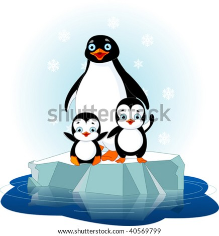 Mother penguin and her babes on the ice floe