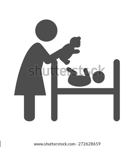 Mother plays with plush bear with the baby pictogram flat icon isolated on white background - stock vector