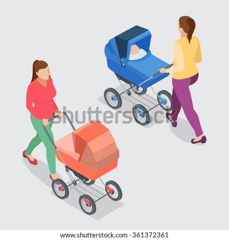 Mother pushing a baby stroller isolated against background. Isometric vector illustration - mother with baby in stroller. - stock vector