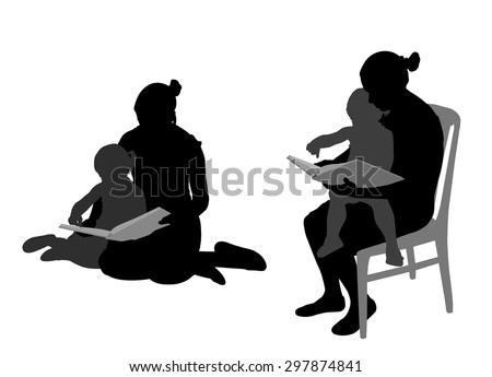 mother reading book to child silhouettes - stock vector