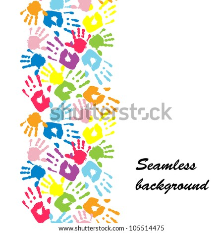 Mother's and kid's hands, seamless border background, vector - stock vector