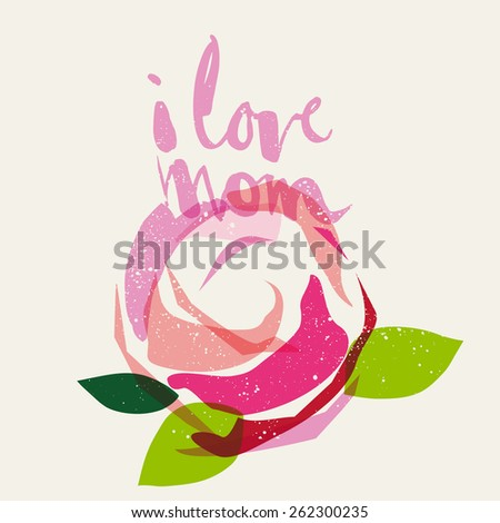 Mother's Day card. Handmade. Design composition. - stock vector