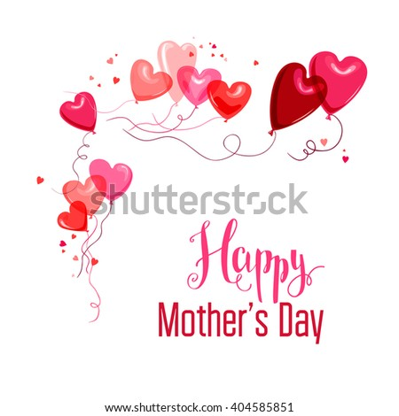 Mother's day card. Place for text. Bright holiday card with balloons for design banner,ticket, leaflet and so on.  - stock vector