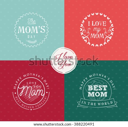 Mother's Day Design Elements for Greeting Cards in Vintage Style