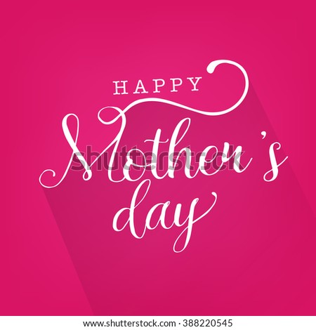 Mother's Day Greeting Card on Pink Background with Long Shadow - stock vector