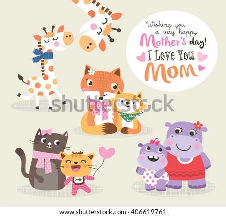 Mother's day greeting card. Vector illustration. Cute little giraffe, fox, cat and hippo with their mother. - stock vector