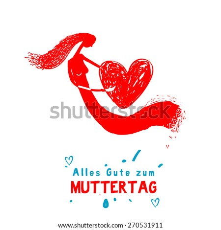 """Mother's Day holiday Illustration with text """"Happy mother's day"""" in german   - stock vector"""