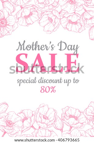 Mother's day sale illustration. Detailed flower drawing. Great banner, flyer, poster, brochure for your business holiday discount. Mothers day special offer. - stock vector