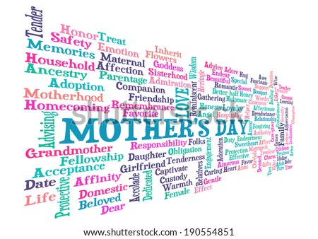 Mother's Day word cloud tag concept in vector
