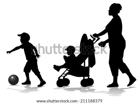Mother walks with the kids and a stroller for a walk  - stock vector