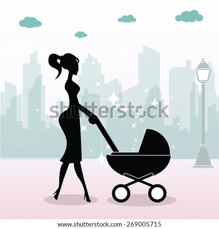 Mother with baby stroller - stock vector