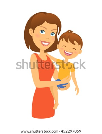 Mother with child. Happy family. Mother and son - stock vector