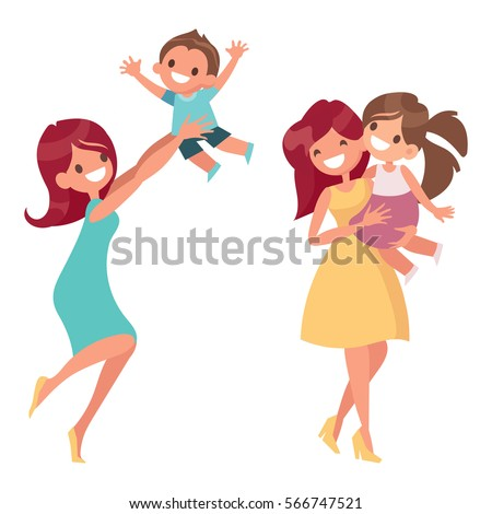 Mother with kids flat vector illustrations, isolated on white background. Mom holding her daughter and plays with her son.