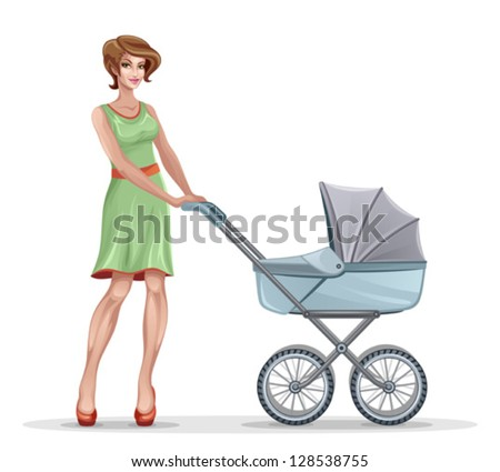 Mother with pram - stock vector