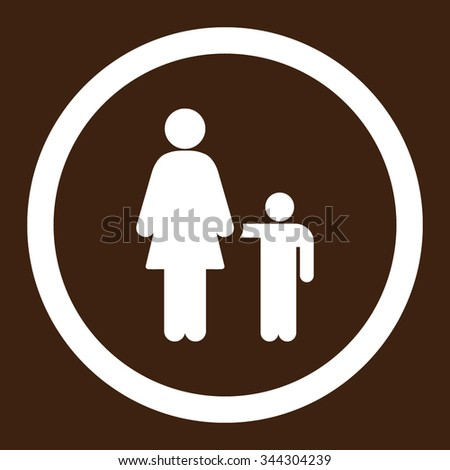 Mother With Son vector icon. Style is flat rounded symbol, white color, rounded angles, brown background.