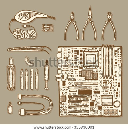 Motherboard and related items. Vintage style, hand drawn pen ink. Vector clip art set for flyer, business card of electronics shop or computer repair service center. Retro design element - stock vector