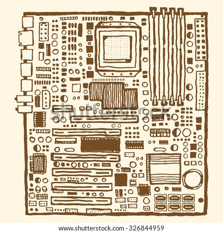 Motherboard hand drawn pen and ink. Electronic component of desktop computer - stock vector