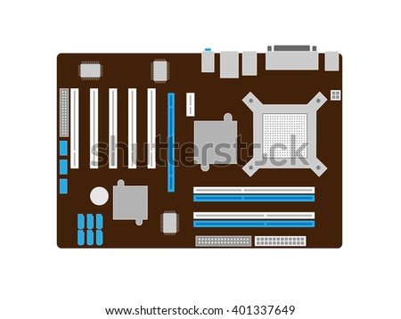 Motherboard on a brown PCB - stock vector