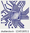 Motherboard with microchip. Doodle style - stock photo