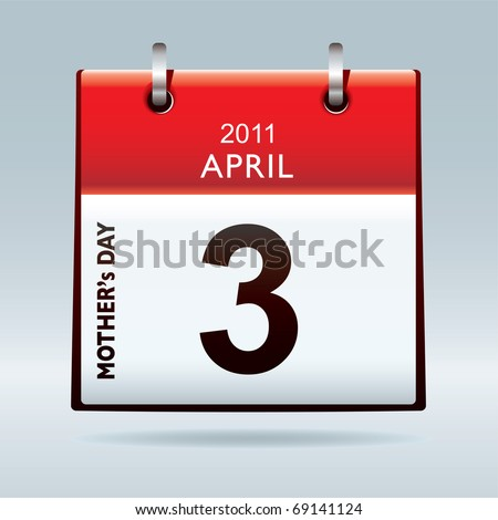 Mothers day 2011 calendar icon with red top - stock vector