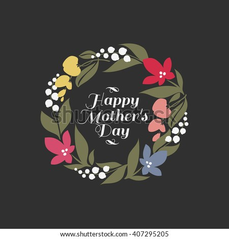 Mothers day card with multicolored floral wreath with assortment of sweet pea, crocus, lily of the valley  - stock vector