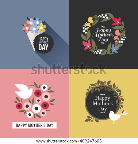 Mothers day card with pretty birds, assortment of multicolored floral decoration and greeting text message - stock vector