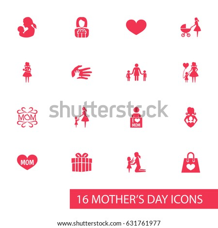 Mothers Day Icon Design Concept Set Stock Vector 631761977