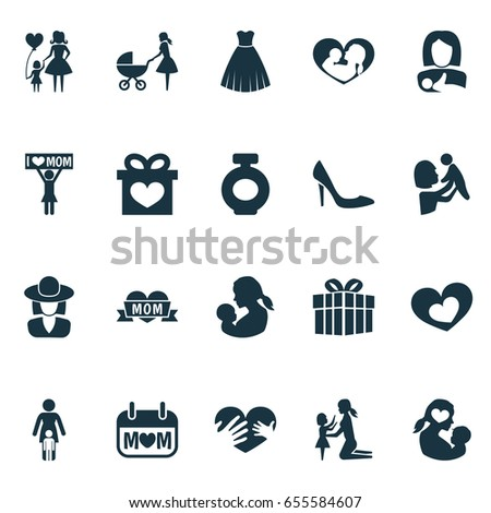 Mothers Day Icon Design Concept Set Stock Photo Photo Vector