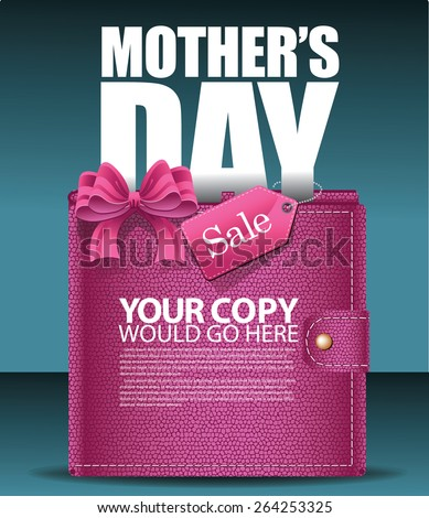 Mothers Day sale wallet background EPS 10 vector illustration for greeting card, ad, promotion, poster, flier, blog, article, social media, marketing, flyer, web page, signage - stock vector