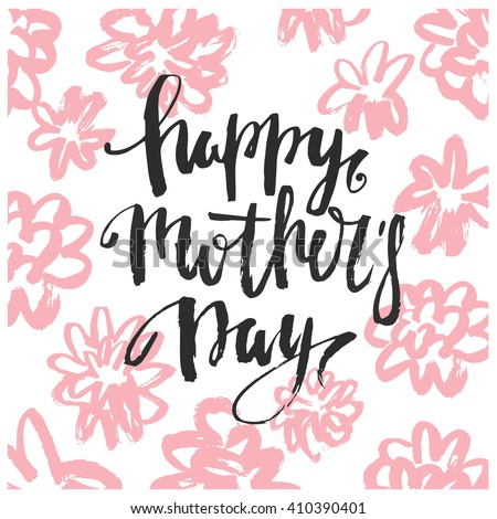 Mothers Day vector greeting card calligraphy lettering template. Modern lettering, hand drawn letters. Happy mothers day script lettering. Trendy card design. Hipster style. - stock vector