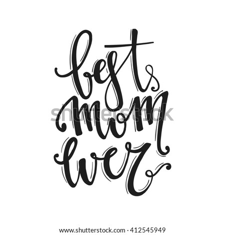 Mothers Day vector greeting card calligraphy lettering template. Modern lettering, hand drawn letters. happy mothers day script lettering. - stock vector