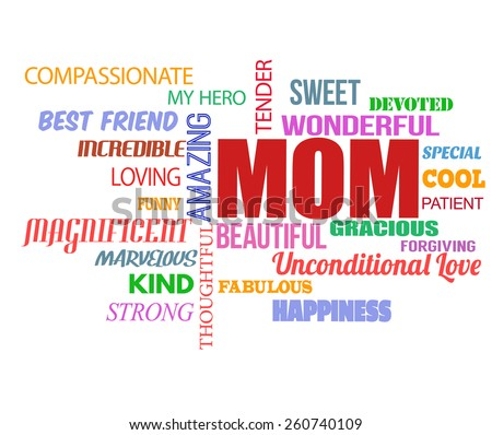 Mothers Day word cloud on white background, vector illustration - stock vector