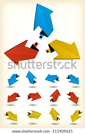 Motion Arrows Set/ Illustration of a set of abstract glossy dynamic arrows moving and rising - stock vector
