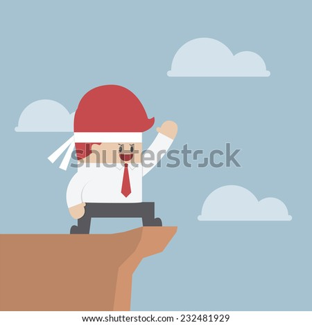 Motivated businessman on the cliff, Motivation concept, VECTOR, EPS10 - stock vector