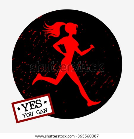 Motivation And Inspiration Sport Fitness Poster Yes You Can Running Girl For