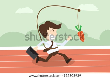 Motivation concept - businessmen running with hanging carrot - stock vector